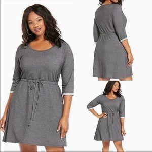 Torrid Grey Sweatshirt Tie-Waist Mini Dress